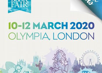 square image of London book fair branding and banner and dates