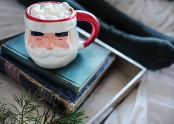 Christmas Santa mug books and socks