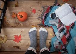 Cozy picture - book, socks, autumn