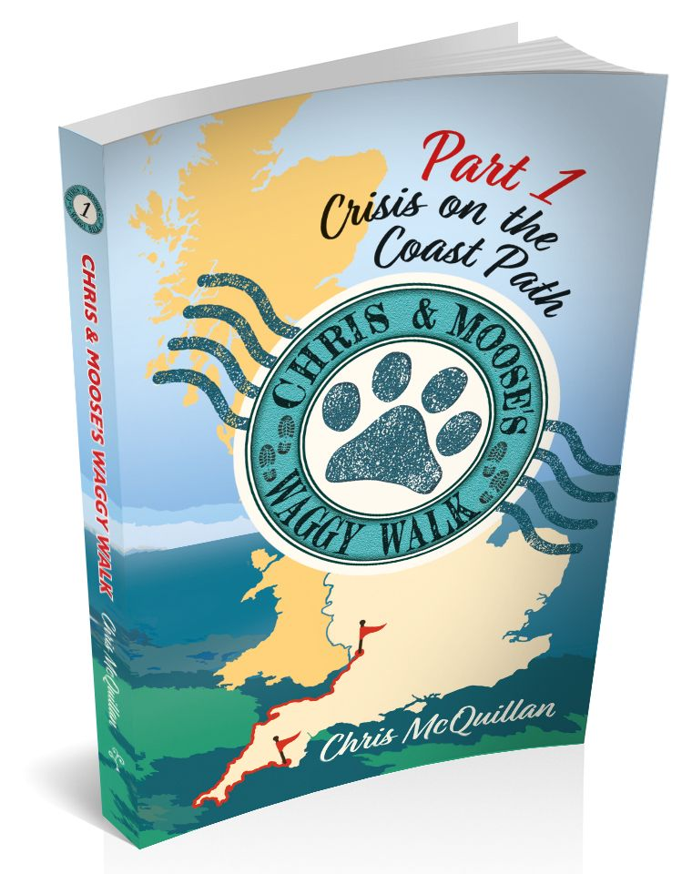 3D book cover image in blue with paw print and UK map